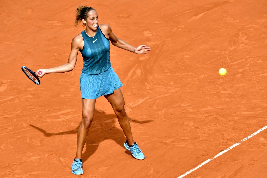 PARIS, June 8, 2018 - Madison Keys of the United States returns a shot during the women's singles semifinal against Sloane Stephens of the United States at the French Open Tennis Tournament 2018 in ...