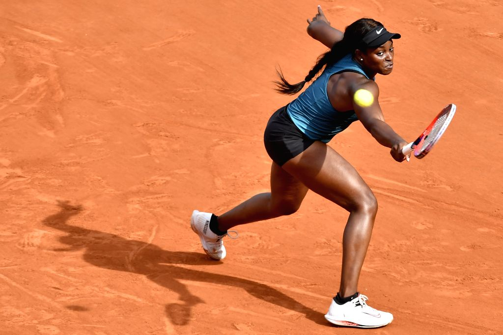PARIS, June 8, 2018 - Sloane Stephens of the United States returns a shot during the women's singles semifinal against Madison Keys of the United States at the French Open Tennis Tournament 2018 in ...