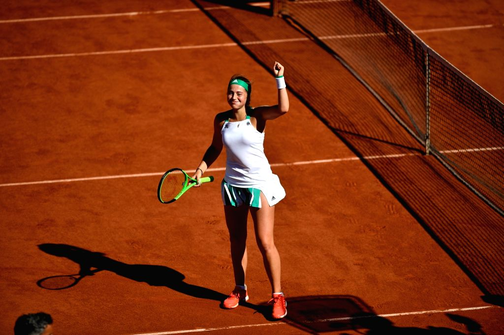 PARIS, June 9, 2017 - Jelena Ostapenko of Latvia greets the spectators after winning the women's singles semifinal against Timea Bacsinszky of Switzerland at the 2017 French Open Tennis Tournament in ...