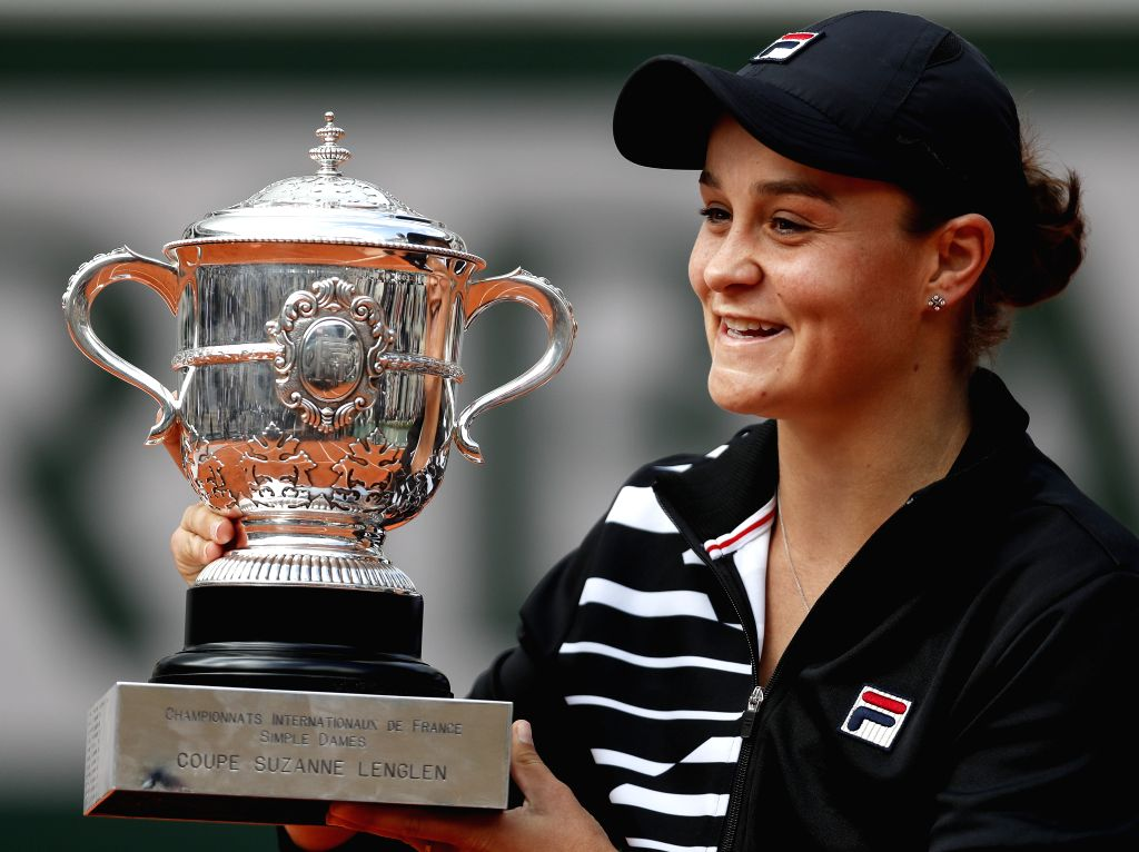 PARIS, June 9, 2019 - Ashleigh Barty of Australia celebrates with her trophy after the women's singles final with Marketa Vondrousova of the Czech Republic at French Open tennis tournament 2019 at ...