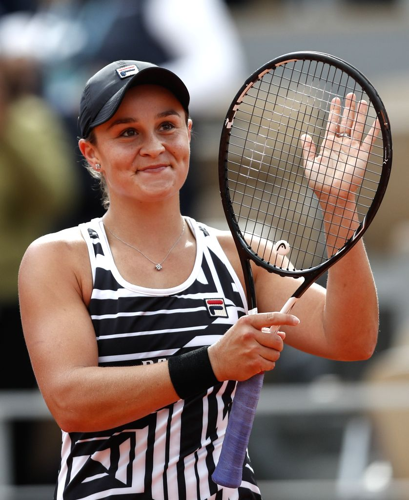 PARIS, June 9, 2019 - Ashleigh Barty of Australia celebrates after the women's singles final with Marketa Vondrousova of the Czech Republic at French Open tennis tournament 2019 at Roland Garros in ...