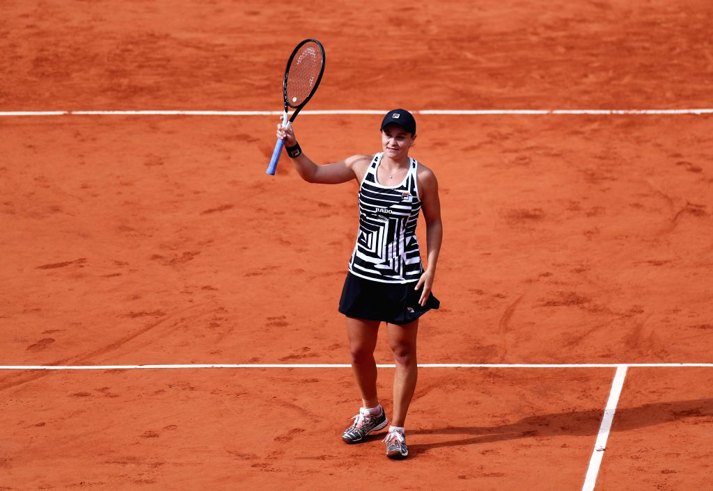 PARIS, June 9, 2019 - Ashleigh Barty of Australia celebrates winning the women's singles final with Marketa Vondrousova of the Czech Republic at French Open tennis tournament 2019 at Roland Garros in ...