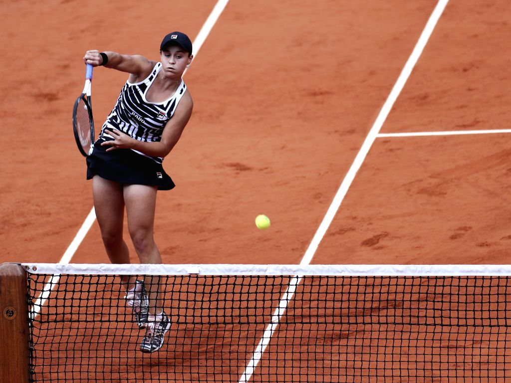 PARIS, June 9, 2019 - Ashleigh Barty of Australia competes during the women's singles final with Marketa Vondrousova of the Czech Republic at French Open tennis tournament 2019 at Roland Garros in ...