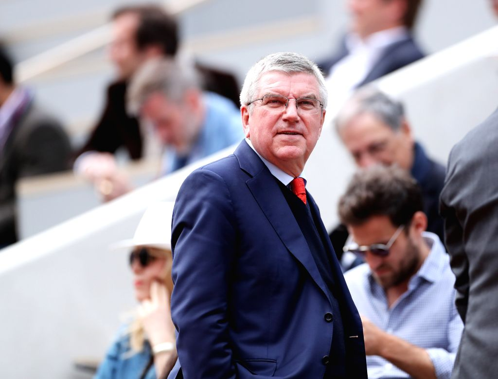 PARIS, June 9, 2019 - President of the International Olympic Committee Thomas Bach react at the stand during the women's singles final between Ashleigh Barty of Australia and Marketa Vondrousova of ...