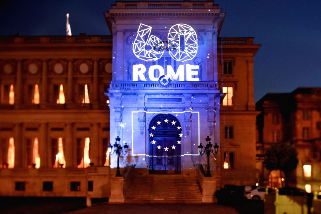 PARIS, March 24, 2017 - The building of the Ministry of Foreign Affairs of France is partly illuminated during a light show in commemoration of the 60th anniversary of the Treaty of Rome in Paris, ...