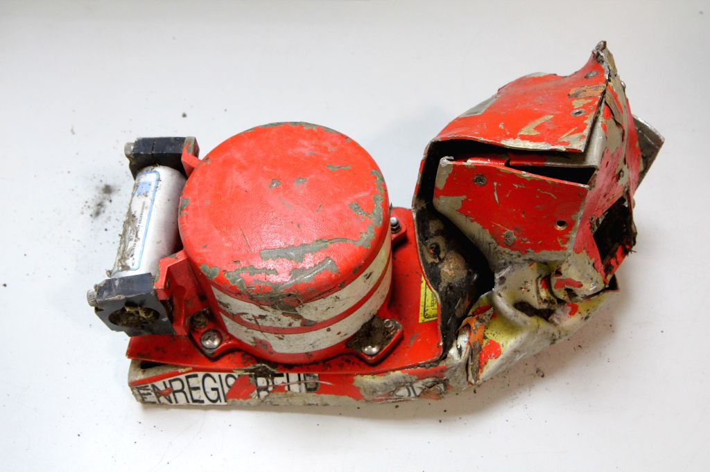 The photo released by the French Bureau of Enquiry and Analysis for Civil Aviation Safety(BEA) on March 25, 2015 shows the black box voice recorder from the crashed ...