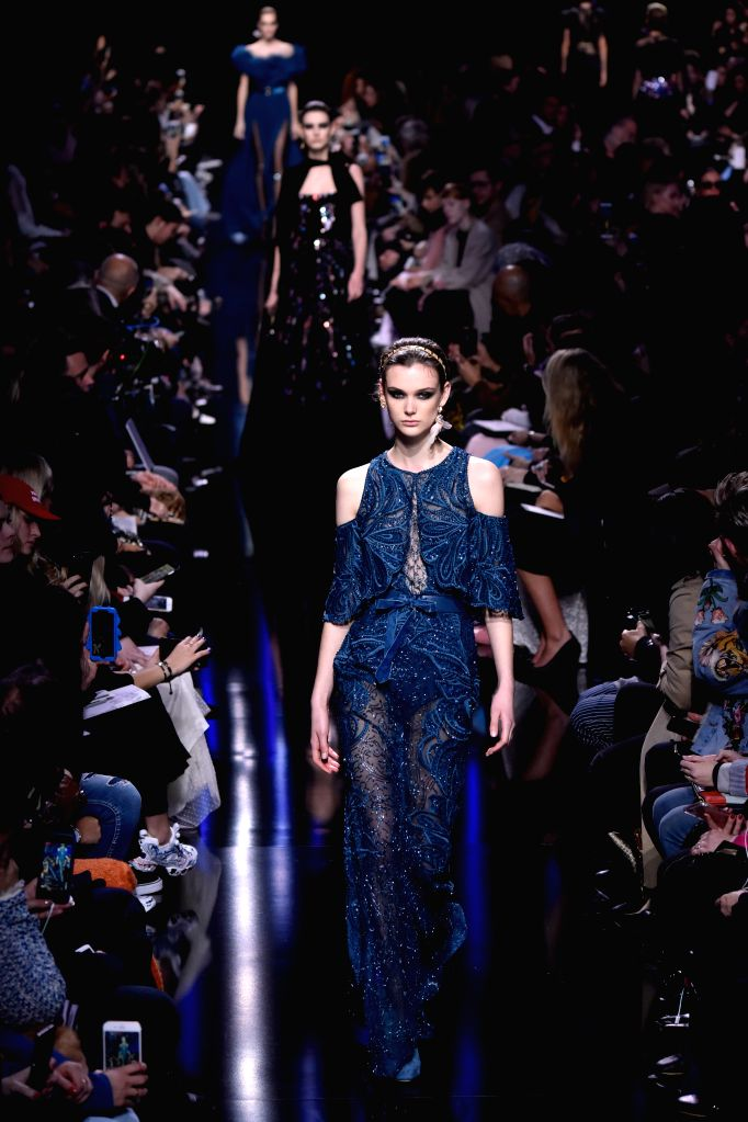 PARIS, March 5, 2017 - A model presents a creation of Elie Saab during the Women's Ready-to-Wear Fall Winter 2017/2018 fashion week in Paris, France, on March 4, 2017.