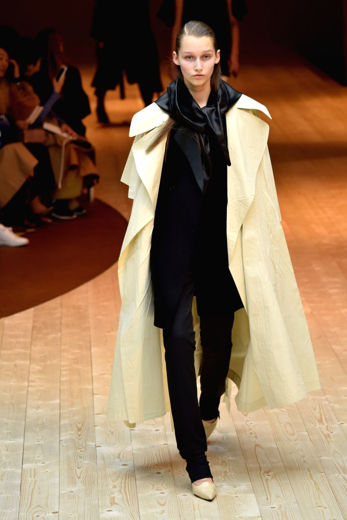 PARIS, March 6, 2017 - A model presents a creation of Celine during the Women's Ready-to-Wear Fall Winter 2017/2018 fashion week in Paris, France, on March 5, 2017.