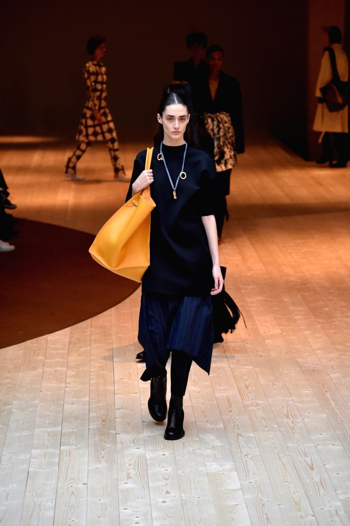 PARIS, March 6, 2017 - Models present creations of Celine during the Women's Ready-to-Wear Fall Winter 2017/2018 fashion week in Paris, France, on March 5, 2017.
