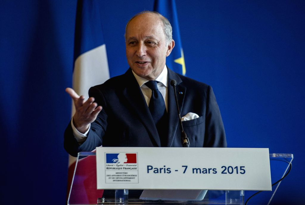 French Foreign Minister Laurent Fabius speaks at a press conference after meeting with U.S. Secretary of State John Kerry in Paris, France, on March 7, 2015. U.S. ... - Laurent Fabius