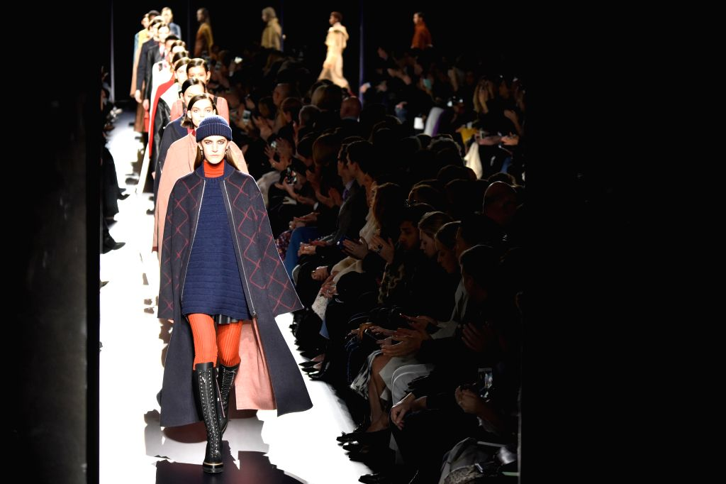 PARIS, March 7, 2017 - Models present creations of Hermes during the Women's Ready-to-Wear Fall Winter 2017/2018 fashion week in Paris, France, on March 6, 2017.
