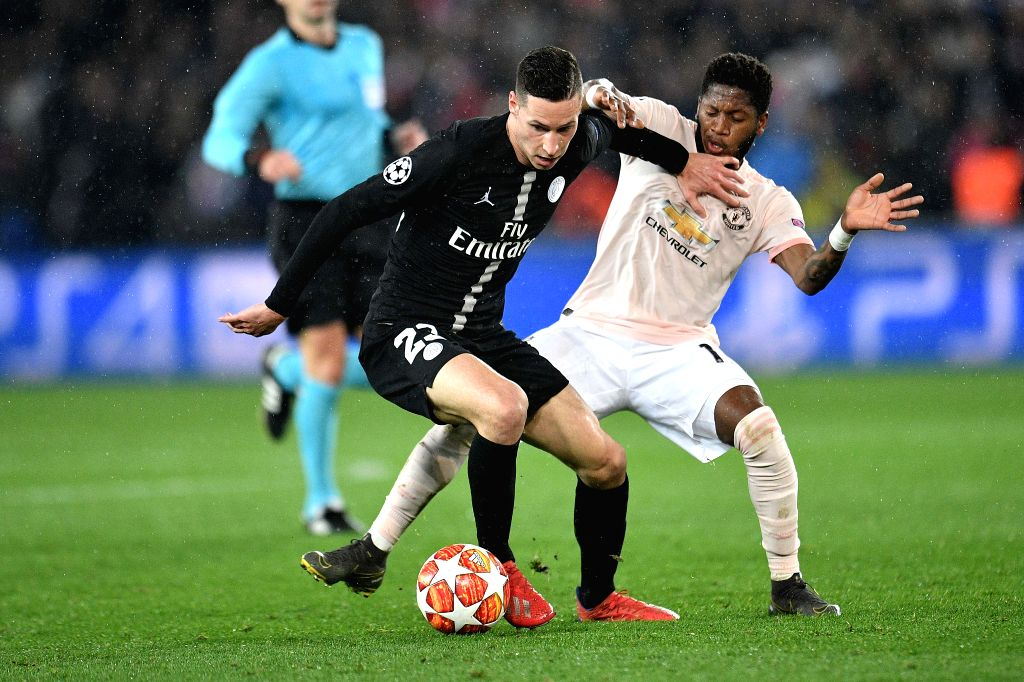 PARIS, March 7, 2019 - Julian Draxler (L) of Paris Saint-Germain vies with Fred of Manchester United during the UEFA Champions League Round of 16 Second Leg match between Paris Saint-Germain and ...