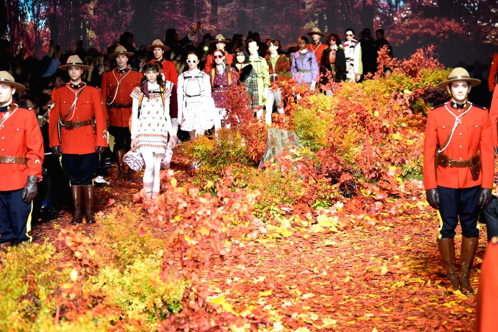 PARIS, March 8, 2017 - Models walk on the stage during Moncler Gamme Rouge fashion show in Paris, France, on March 7, 2017.