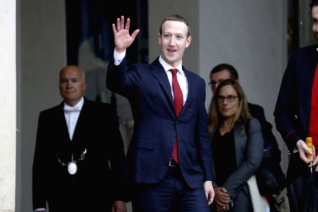 PARIS, May 10, 2019 - Facebook CEO Mark Zuckerberg waves as he leaves the Elysee Palace after a meeting with French President Emmanuel Macron in Paris, France, on May 10, 2019.