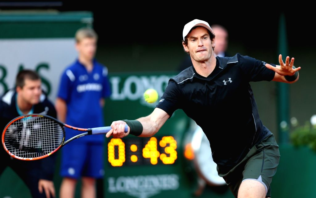 PARIS, May 24, 2016 - Andy Murray of Great Britain returns the ball during the men's singles first round match against Radek Stepanek of Czech Republic on day 2 of 2016 French Open tennis tournament ...