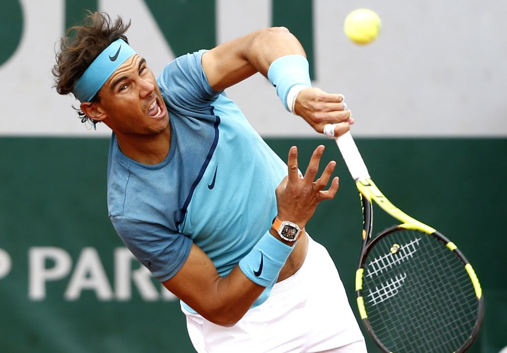 PARIS, May 24, 2016 - Rafael Nadal of Spain competes during the match of men's singles first round match against Sam Groth of Australia on day 3 of 2016 French Open tennis tournament at Roland ...