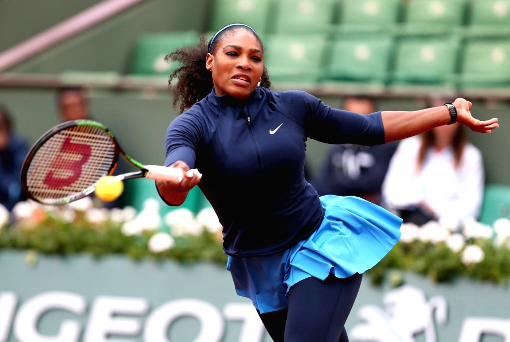 PARIS, May 25, 2016 - Serena Williams of the United States competes during the women's singles first round match against Magdalena Rybarikova of Slovakia on day 3 of 2016 French Open tennis ...