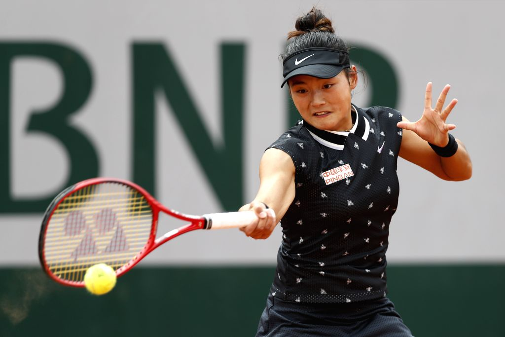 PARIS, May 26, 2019 - China's Wang Yafan competes during the women's singles first round match with Czech Republic's Marketa Vondrousova at French Open tennis tournament 2019 at Roland Garros, in ...