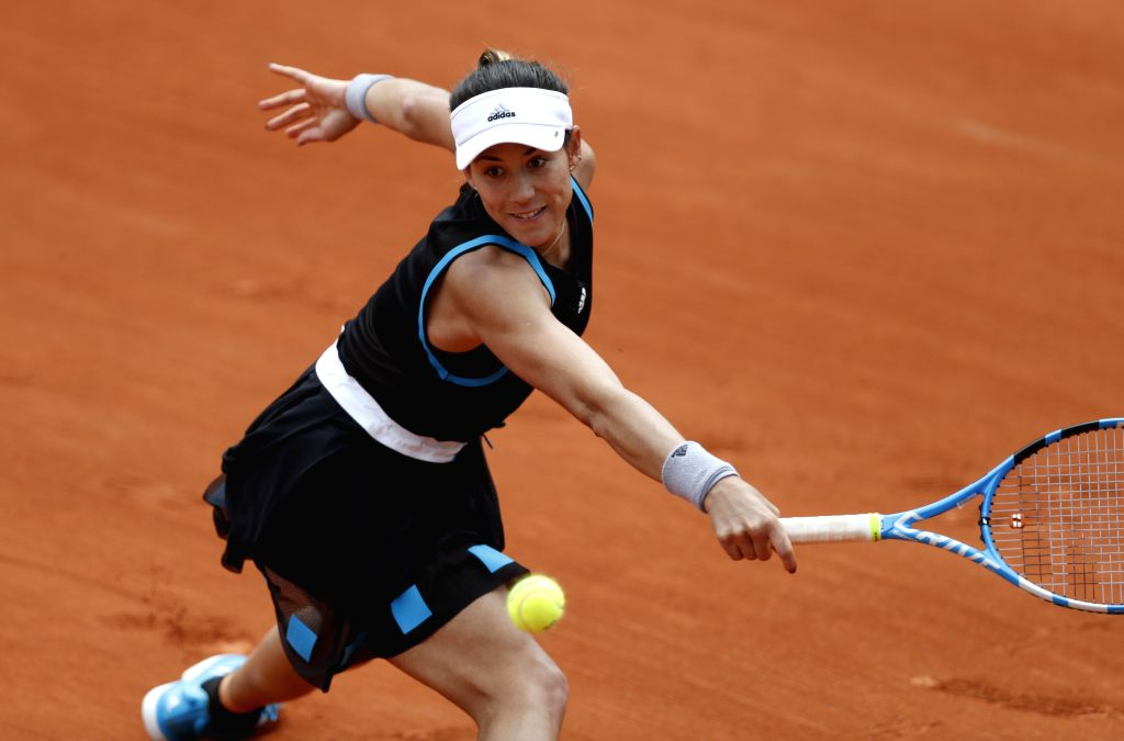 PARIS, May 26, 2019 - Spain's Garbine Muguruza competes during the women's singles first round match with Taylor Townsend of the United States at French Open tennis tournament 2019 at Roland Garros, ...