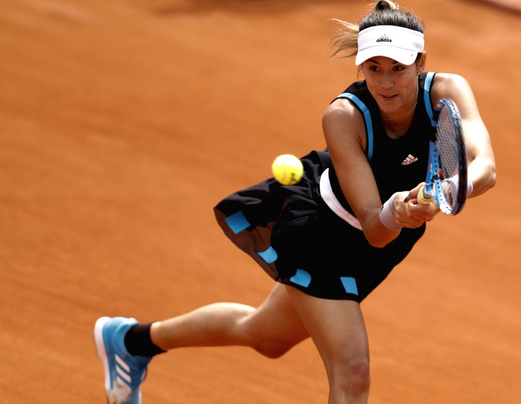 PARIS, May 26, 2019 - Spain's Garbine Muguruza competes during the women's singles first round match with USA's Taylor Townsend at French Open tennis tournament 2019 at Roland Garros, in Paris, ...