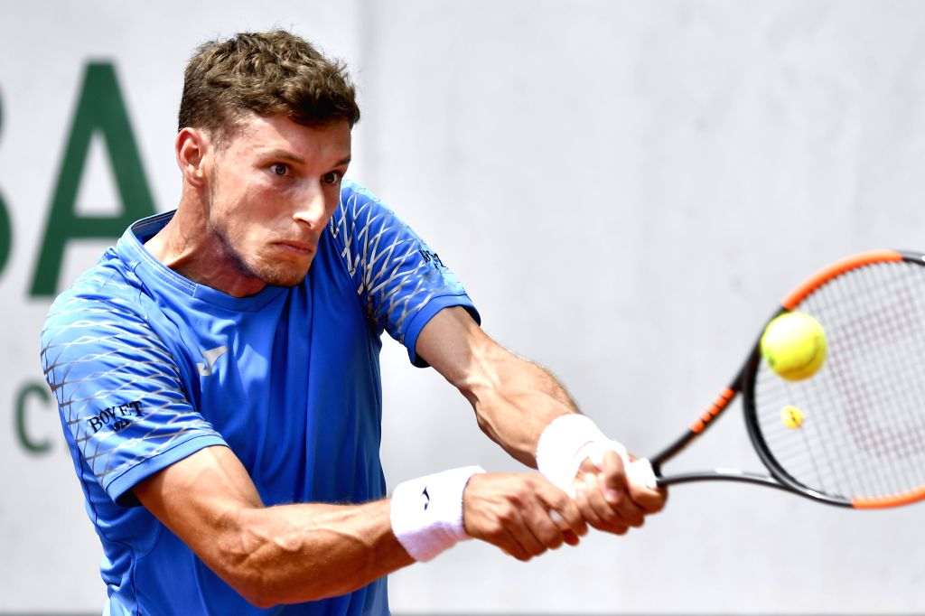 PARIS, May 27, 2018 - Pablo Carreno Busta of Spain returns a shot during the men's singles first round match against Jozef Kovalik of Slovakia at the French Open Tennis Tournament 2018 in Paris, ...