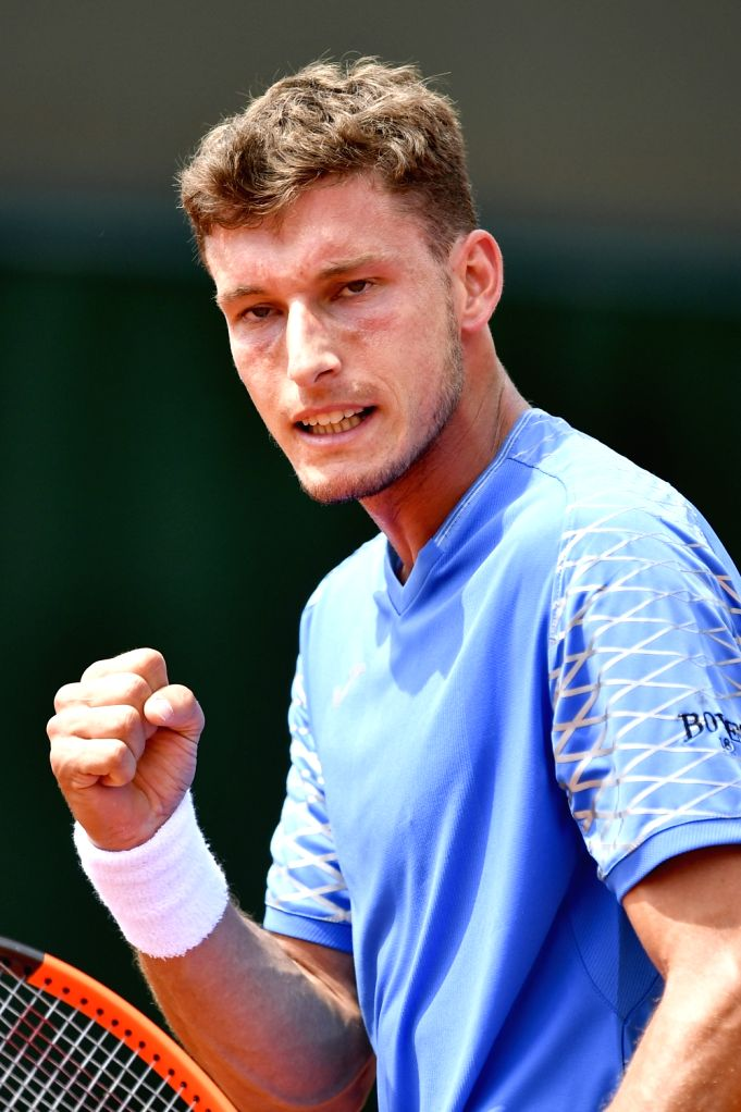 PARIS, May 27, 2018 - Pablo Carreno Busta of Spain reacts during the men's singles first round match against Jozef Kovalik of Slovakia at the French Open Tennis Tournament 2018 in Paris, France on ...