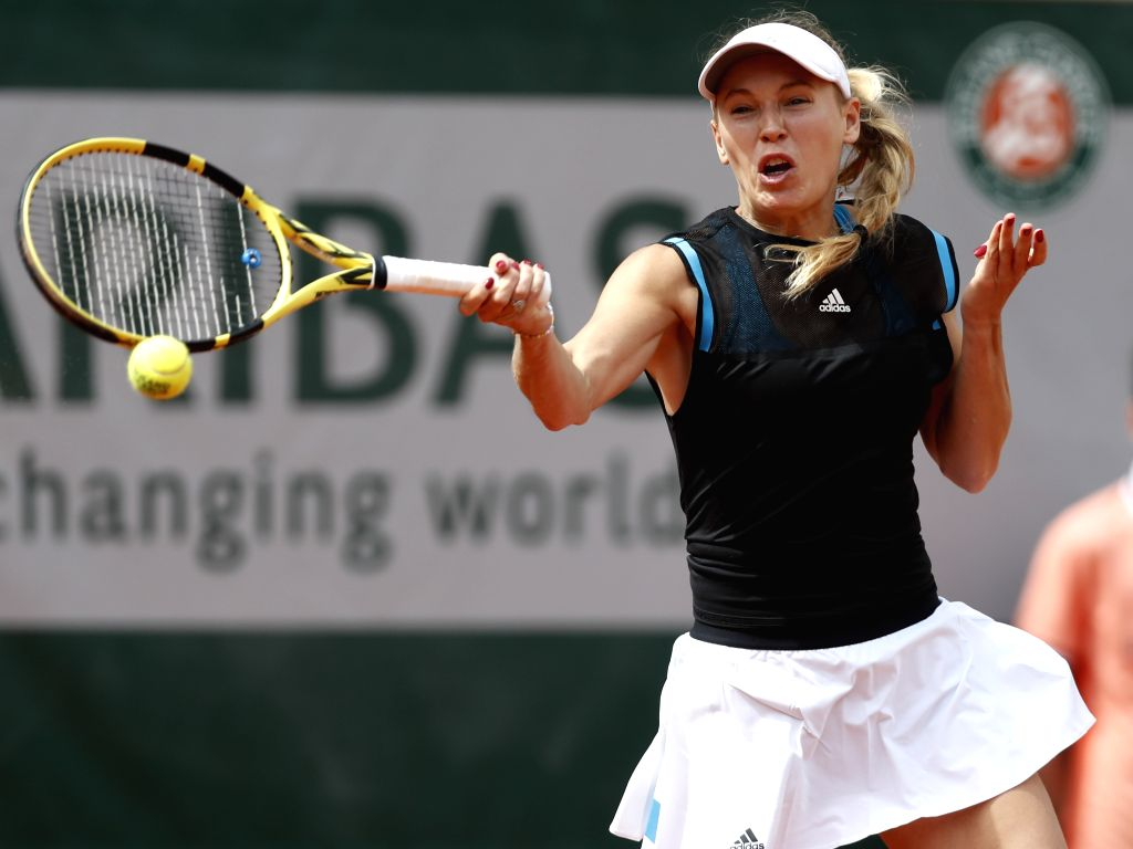 PARIS, May 27, 2019 - Caroline Wozniacki of Denmark competes during the women's singles first round match with Veronica Kudermetova of Russia at French Open tennis tournament 2019 at Roland Garros in ...