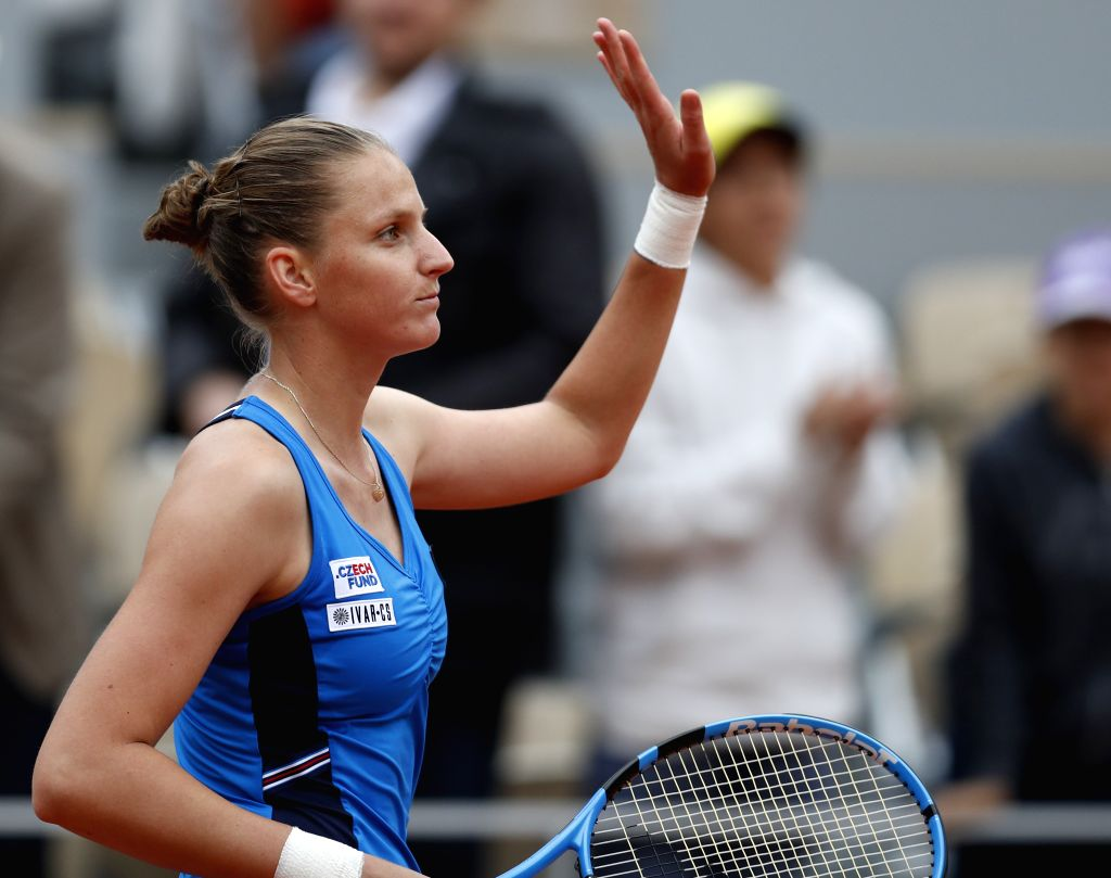 PARIS, May 27, 2019 - Karolina Pliskova of the Czech Republic waves to the audiences after the women's singles first round match against Madison Brengle of the United States at French Open tennis ...