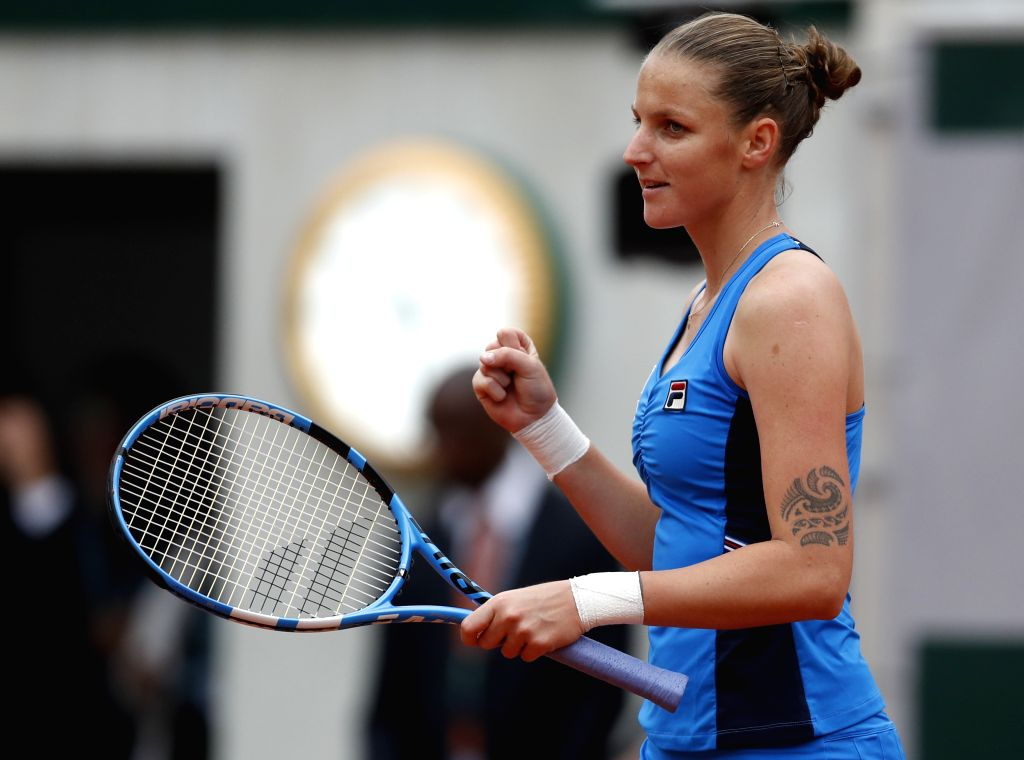 PARIS, May 27, 2019 - Karolina Pliskova of the Czech Republic celebrates after the women's singles first round match against Madison Brengle of the United States at French Open tennis tournament 2019 ...