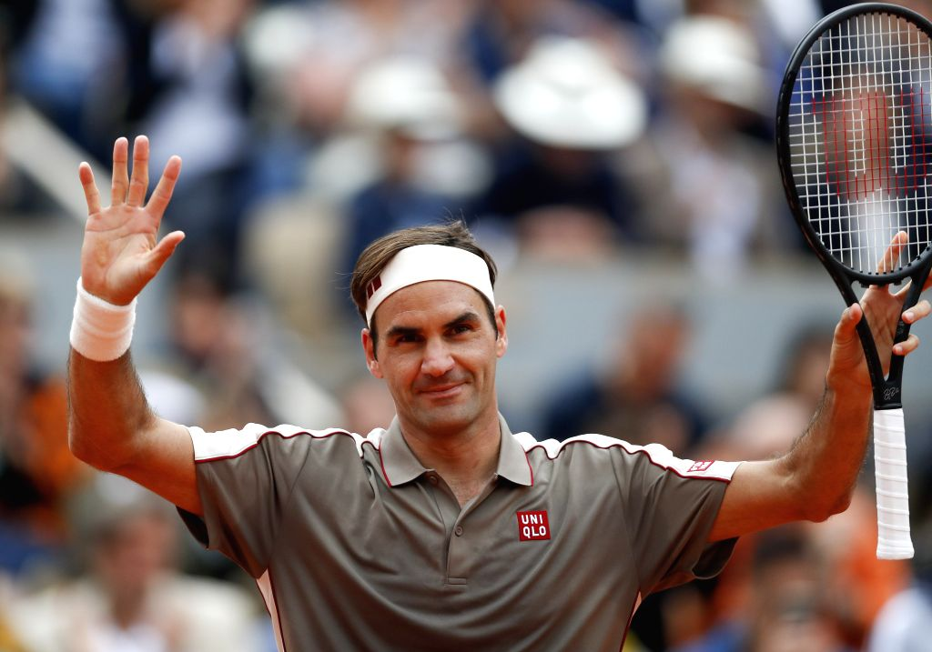 PARIS, May 27, 2019 - Roger Federer of Switzerland greets the audiences after the men's singles first round match against Lorenzo Sonego of Italy at French Open tennis tournament 2019 in Paris, ...