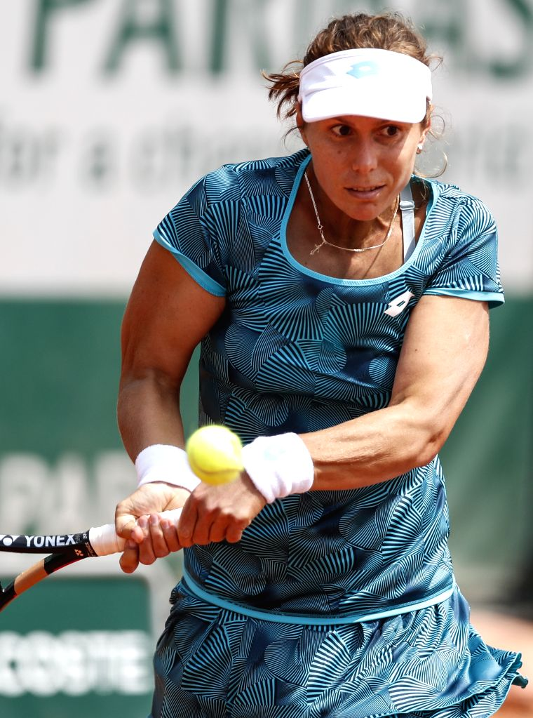 PARIS, May 27, 2019 - Varvara Lepchenko of the United States competes during the women's singles first round match with Zhang Shuai of China at French Open tennis tournament 2019 at Roland Garros, in ...