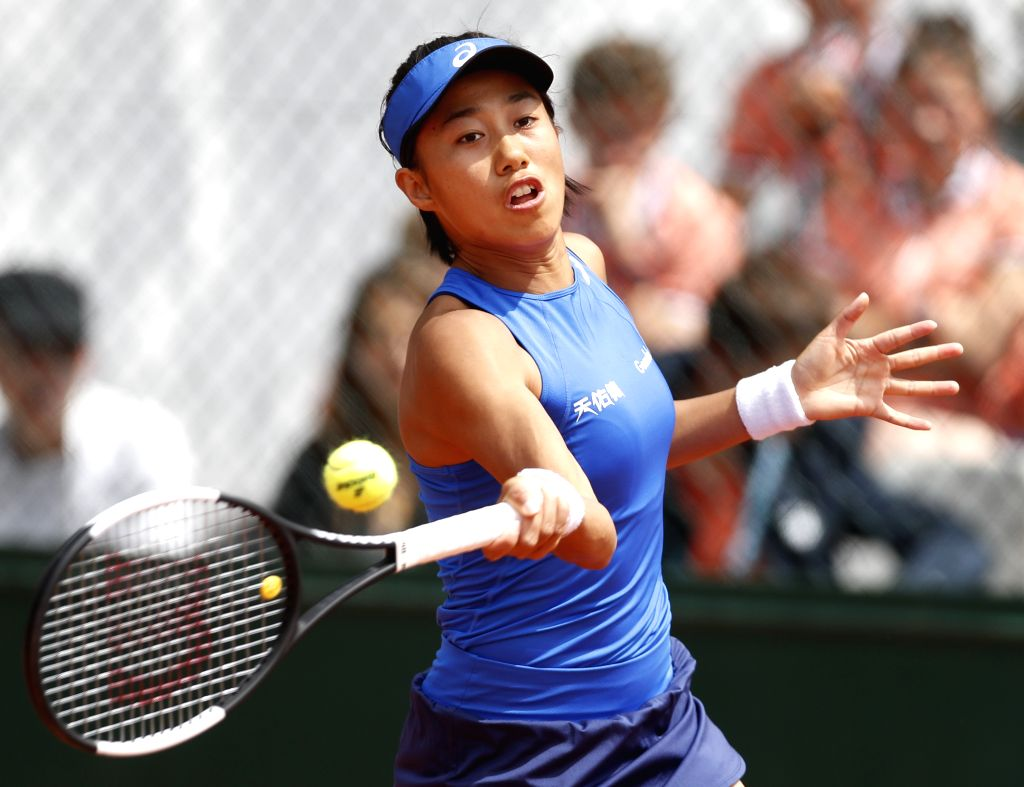 PARIS, May 27, 2019 - Zhang Shuai of China returns the ball during the women's singles first round match with Varvara Lepchenko of the United States at French Open tennis tournament 2019 at Roland ...