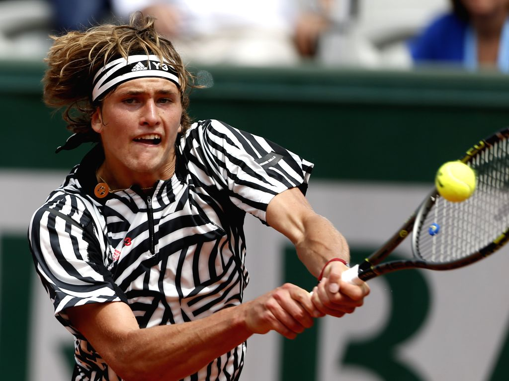 PARIS, May 28, 2016 - Alexander Zverev of Germany competes during the men's singles third round match against Dominic Thiem of Austria at the French Open tennis tournament at Roland Garros in Paris, ...