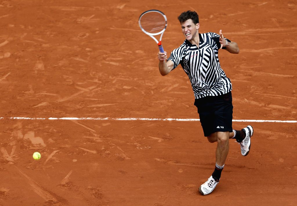 PARIS, May 28, 2016 - Dominic Thiem of Austria competes during the men's singles third round match against Alexander Zverev of Germany at the French Open tennis tournament at Roland Garros in Paris, ...