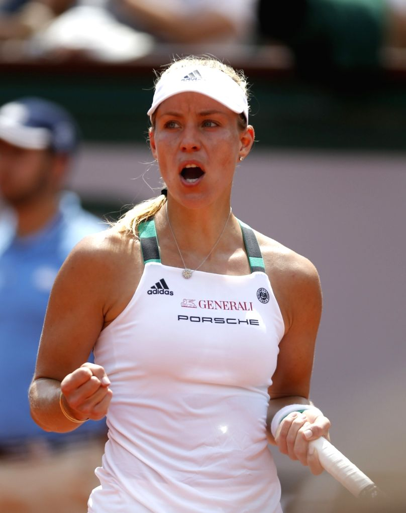PARIS, May 28, 2017 - Angelique Kerber of Germany cheers for herself during the women's singles first round match with Ekaterina Makarova of Russia at French Open Tennis Tournament 2017 in Roland ...