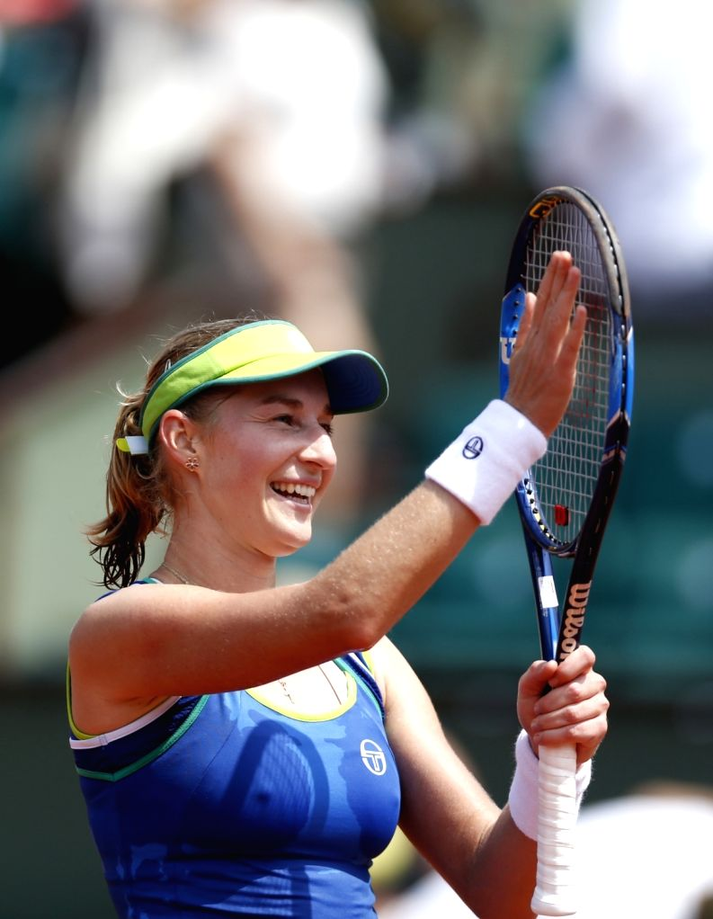 PARIS, May 28, 2017 - Ekaterina Makarova of Russia celebrates after winning the women's singles first round match with Angelique Kerber of Germany at French Open Tennis Tournament 2017 in Roland ...