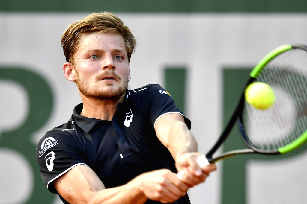 PARIS, May 28, 2018 - David Goffin of Belgium returns the shot during the men's singles first round match against Robin Haase of Netherlands at the French Open Tennis Tournament 2018 in Paris, France ...