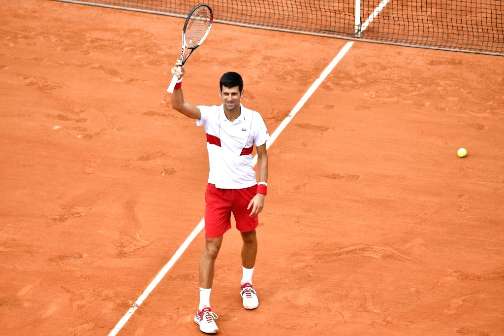 PARIS, May 28, 2018 - Novak Djokovic of Serbia greets the spectators after the men's singles first round match against Rogerio Dutra Silva of Brazil at the French Open Tennis Tournament 2018 in ...