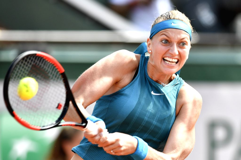 PARIS, May 28, 2018 - Petra Kvitova of Czech Republic returns a shot during the women's singles first round match against Veronica Cepede Royg of Paraguay at the French Open Tennis Tournament 2018 in ...