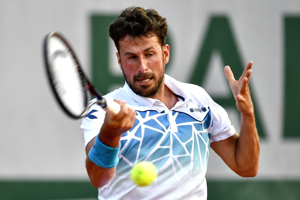 PARIS, May 28, 2018 - Robin Haase of Netherlands returns a shot during the men's singles first round match against 8th seeded David Goffin of Belgium at the French Open Tennis Tournament 2018 in ...