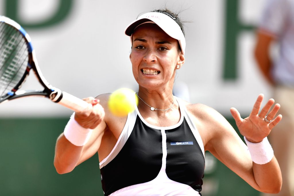 PARIS, May 28, 2018 - Veronica Cepede Royg of Paraguay returns a shot during the women's singles first round match against Petra Kvitova of Czech at the French Open Tennis Tournament 2018 in Paris, ...