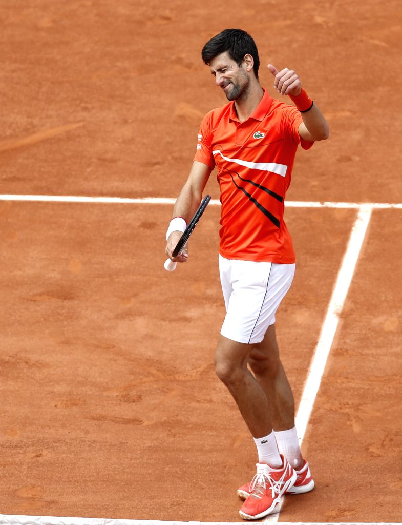 PARIS, May 28, 2019 - Novak Djokovic of Serbia celebrates after the men's singles first round match with Hubert Hurkacz of Poland at French Open tennis tournament 2019 at Roland Garros in Paris, ...