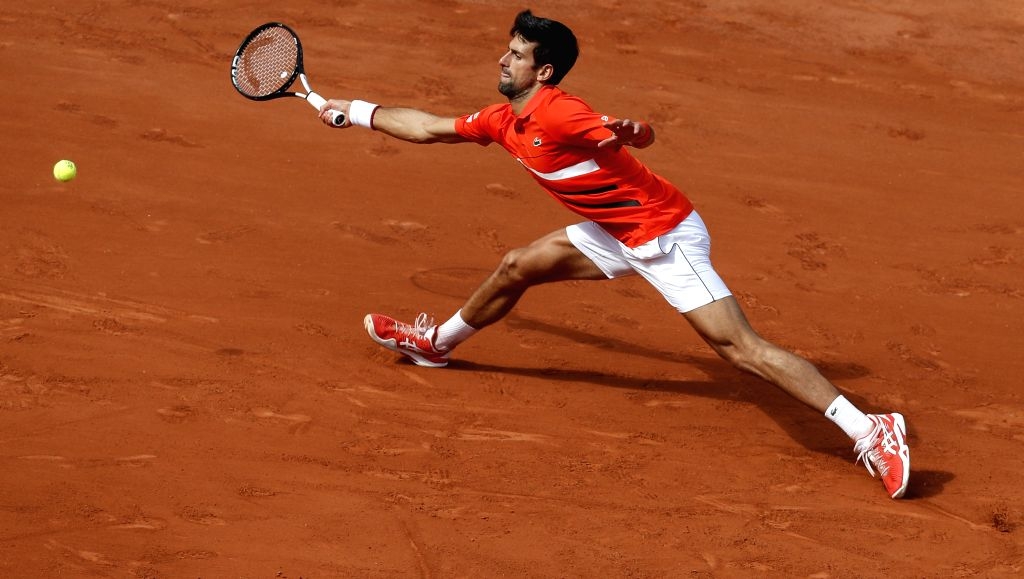 PARIS, May 28, 2019 - Novak Djokovic of Serbia hits a return during the men's singles first round match with Hubert Hurkacz of Poland at French Open tennis tournament 2019 at Roland Garros in Paris, ...