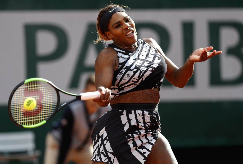 PARIS, May 28, 2019 - Serena Williams of the United States hits a return during the women's singles first round match with Vitalia Diatchenko of Russia at French Open tennis tournament 2019 at Roland ...