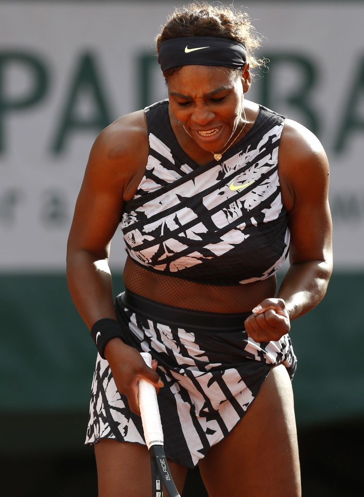 PARIS, May 28, 2019 - Serena Williams of the United States reacts during the women's singles first round match with Vitalia Diatchenko of Russia at French Open tennis tournament 2019 at Roland Garros ...