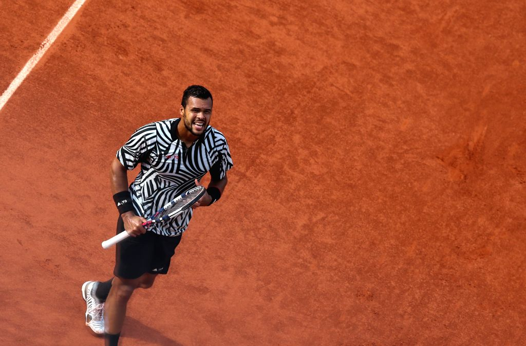 PARIS, May 29, 2016 - Jo-Wilfried Tsonga looks on during Men's Singles Round 3 against Ernests Gulbis of Latvia on day 7 of 2016 French Open tennis tournament at Roland Garros, in Paris, France on ...