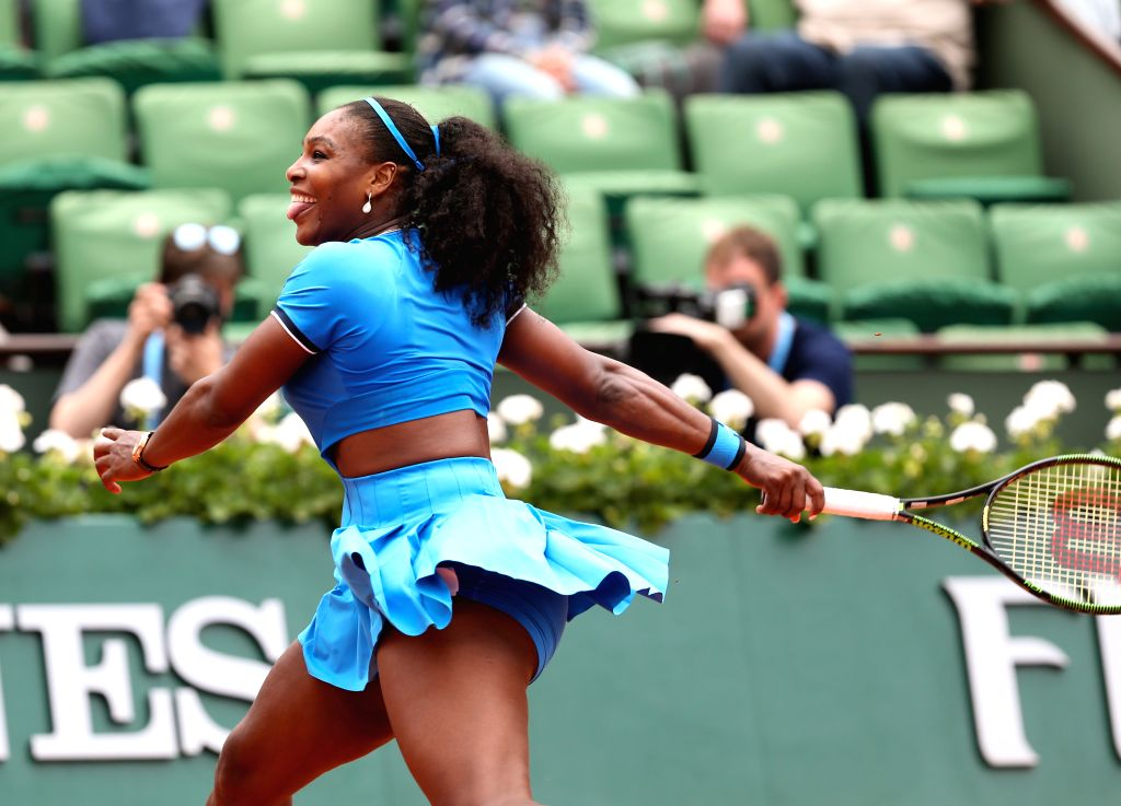 PARIS, May 29, 2016 - Serena Williams of the United States reacts during Women's Singles Round 3 against Kristina Mladenovic of France on day 7 of 2016 French Open tennis tournament at Roland Garros, ...