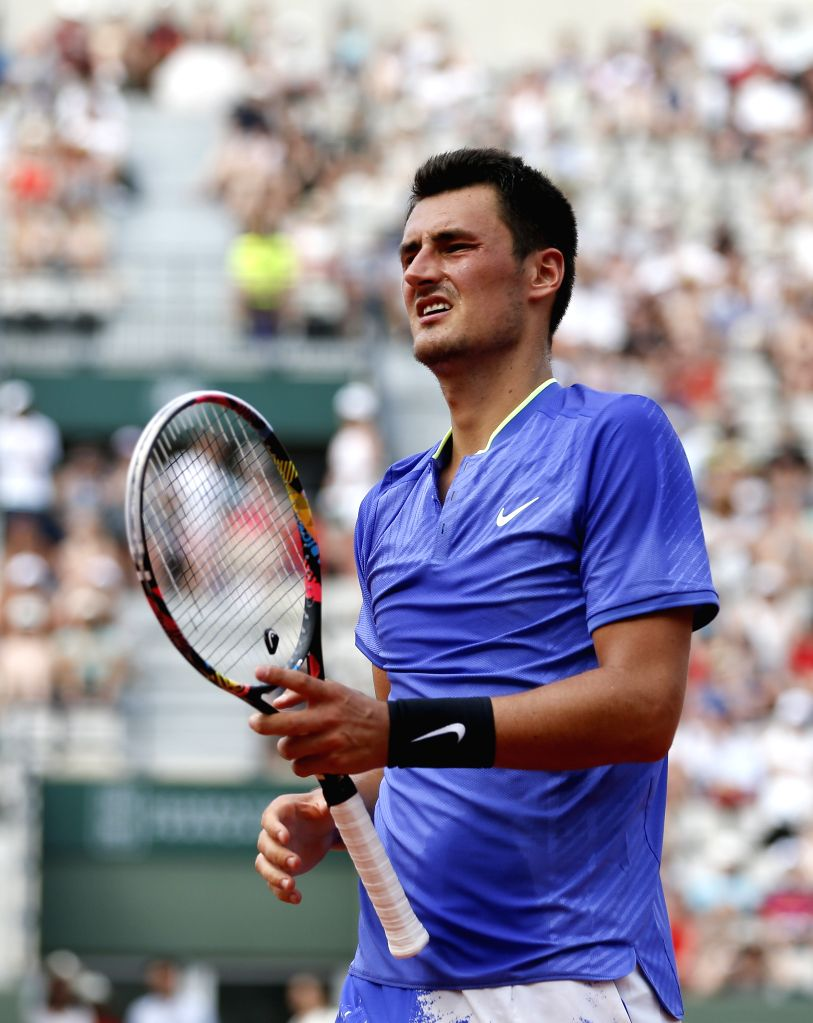 PARIS, May 29, 2017 - Bernard Tomic of Australia reacts during the men's singles first round match against Dominic Thiem of Austria at French Open Tennis Tournament 2017 in Roland Garros, Paris, ...