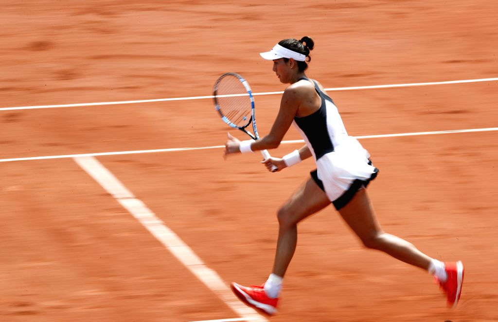 PARIS, May 29, 2017 - Garbine Muguruza of Spain competes during the women's singles first round match with Francesca Schiavone of Italy at French Open Tennis Tournament 2017 in Roland Garros, Paris, ...