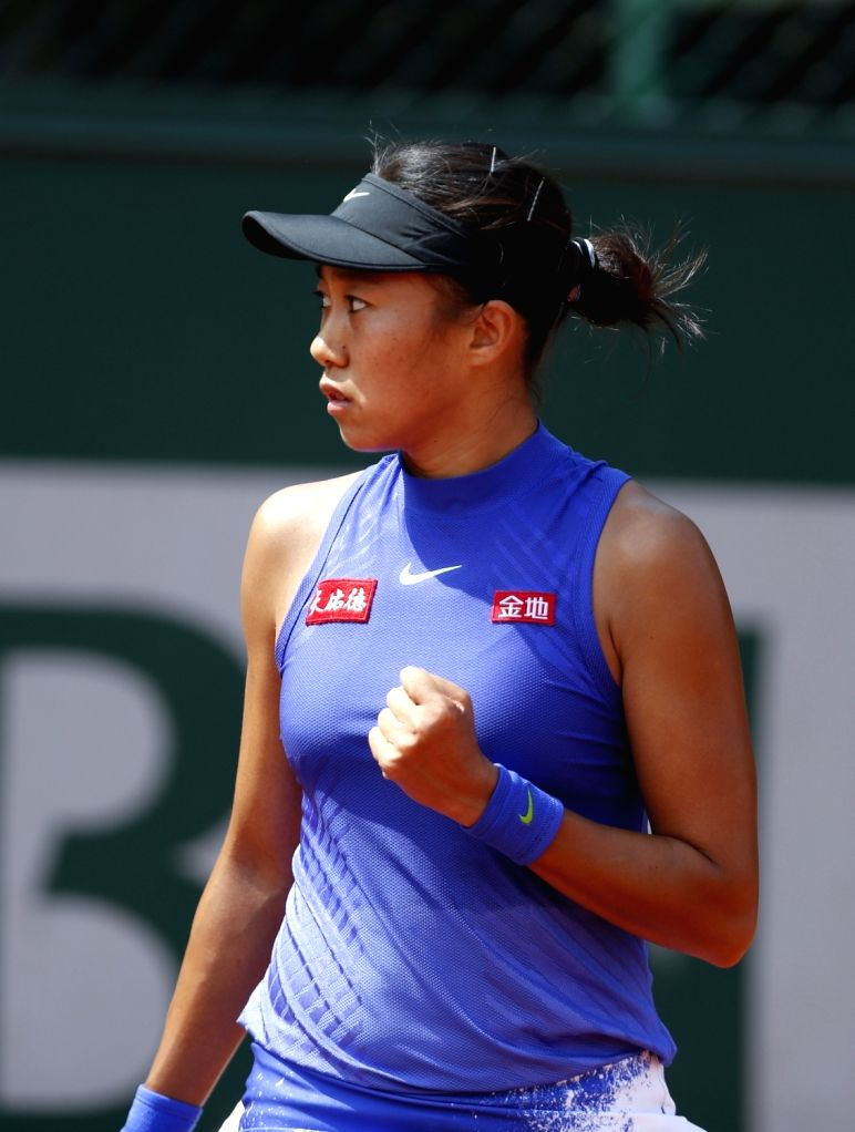 PARIS, May 29, 2017 - Zhang Shuai of China reacts during the women's singles first round match with Donna Vekic of Croatia at French Open Tennis Tournament 2017 in Roland Garros, Paris, France on May ...